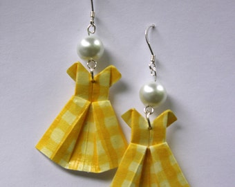 Yellow Gingham Origami Dress Earrings