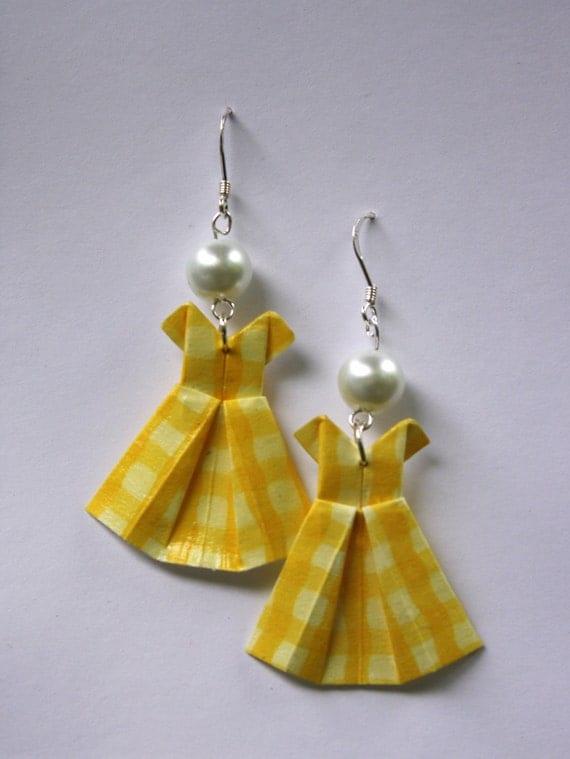 Yellow Gingham Origami Dress Earrings