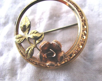 Gold filled rose brooch, sterling gold filled. two inches diameter.