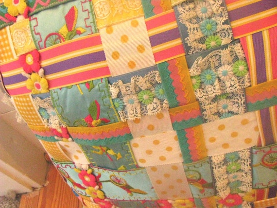 12 inch square pillow.  lattice front with BEST old vintage trim and ribbon. from 1960s estate.