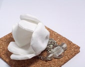 White Asymmetric Poppy Necklace