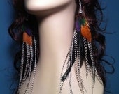 Grizzly Feather Earrings Long  Punky Hip Very Long Feather Statement Earrings Winter Fashion Feather Jewelry
