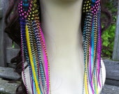 Rainbow Feather Earrings Grizzly Bright Very Long Feather Earings, Summer Fashion Statement Feather Jewelry