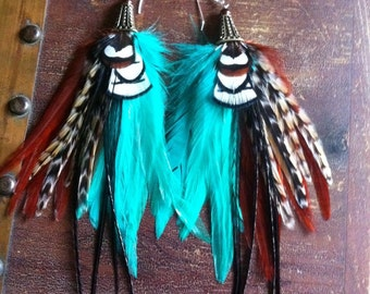 Feather Earrings Big and Full Turquoise, Firery Brown, and Cree Dangle Statement Earrings Owlita inspired Sale