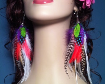 Feather Earrings - Hodgepodge's Sister, Colorful Feather Earings, Summer Feather Jewelry, Clip On's or Hooks