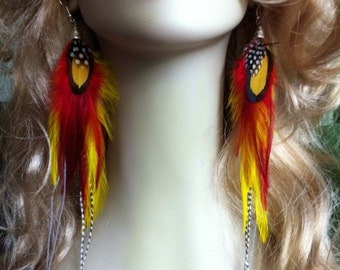 Long Feather Earrings - Carnival Sun - Red, Yellow, Grizzly Rooster Feather Earings Clip On Earrings Available