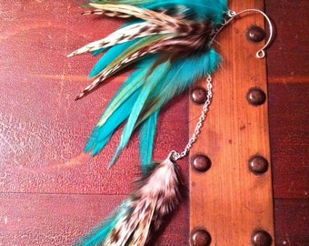 Feather Ear Cuff, Ear Wrap with Chain - Aqua Angel