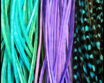 Long Feather Hair Extensions Turquoise, Purple, and Turquoise Grizzly 3 Real Rooster Hair Feathers with Crimp Beads