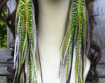 Super Long Feather Earrings - Green Meanie Owlita Inspired Statement Earrings - Big Full Thick Bright Grizzly Feather Earings
