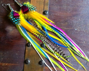 Long Feather Earrings Summer Lovin' Colorful Bright Feather Earings