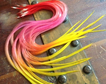 Feather Hair Extensions Bright Sunburst Tie Dyed Feather Extensions Red Orange Pink Yellow Ombre Faded Hair Feathers 8-11  inch