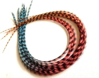 Real Tie Dyed Feather Extensions 11-12inch XL Long Grizzly 3pcs Ombre Faded Hair Feathers for Feather Hair Extensions Blue, Pink, Peach