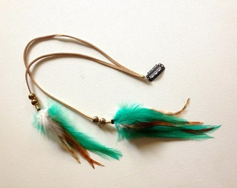 Tribal Bohemian Long Feather Clip With Beads Leather Feather Extension, Ocean Turquoise, Ginger Hair Accessories