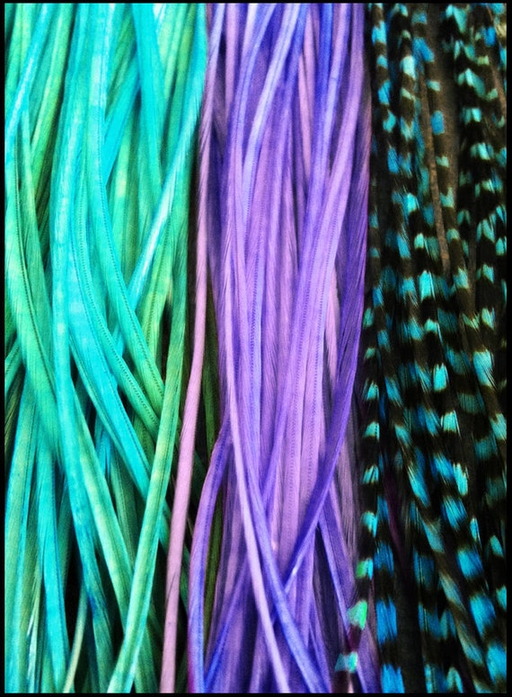 Hair Feather Extensions Purple, Turquoise, Aqua Grizzly Loose 3 Long Feathers Plumes for Feather Hair Extensions
