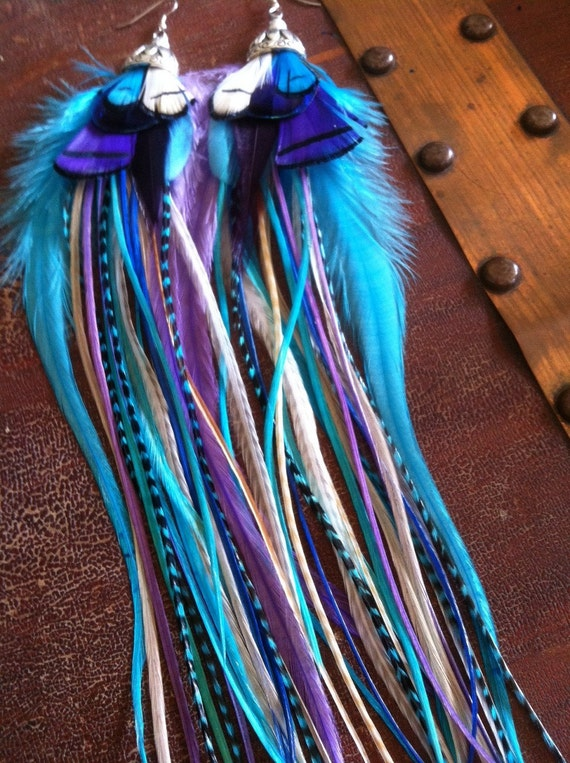 Big Feather Earrings Purple Blue Peacock Princess - Long Rooster Thick Feather Earings (limited edition)