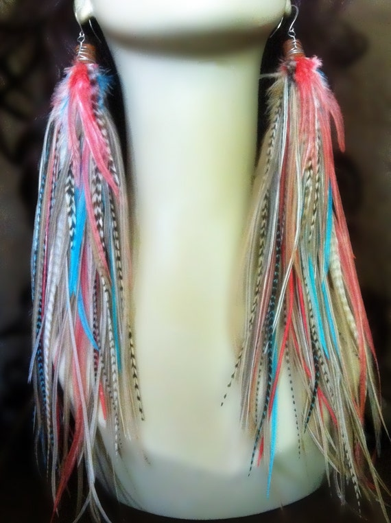 Owlita Inspired Feather Earrings - Big Full Super Long Feather Earrings - Coral Pastel Dreams - Ready to Ship
