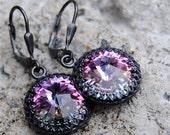 Purple Lavender Rainbow Earrings - Victorian Queen - Swarovski Crystal  & Oxidized Sterling Silver Crown Dangle Earrings - Mashugana