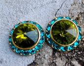 Swarovski Crystal Earrings - Sugar Sparklers - Olive Green, Teal Rhinestone Studs