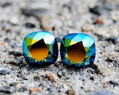 Aztec Sunset Vintage Super Sparklers Teenies Aztec Sunset Square Swarovski Crystal Stud Earrings Mashugana