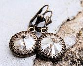 Silver Black Diamond Dangle Earrings Super Sparklers Victorian Queen Swarovski Earrings Silver Black Diamond Earrings Mashugana