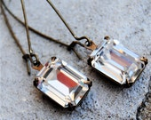 Swarovski Crystal Earrings - Soho Sparklers - Vintage Clear Crystal Diamond in Vintage Brass Dangle Earrings