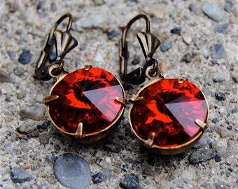 Ruby Red Vintage Swarovski Crystal Red Drop Earrings Vintage Savannah Super Sparklers Mashugana