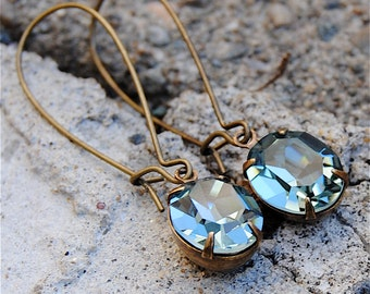 Vintage Denim Blue Earrings Swarovski Crystal Dangle Earrings Oval Drop Rhinestone Earrings Drayton Ovals Mashugana