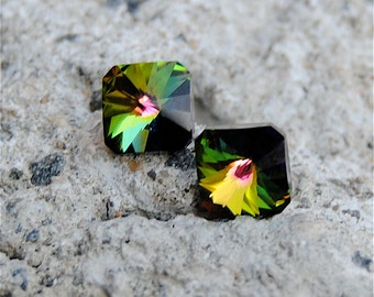 RARE Dark Rainbow Super Sparklers Teenies Vintage Dark Rainbow Square Crystal Stud Earrings Mashugana