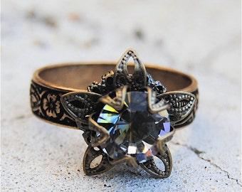 Romance du Matin Swarovski Crystal Ring Victorian Stargazer Vintage Romance Du Matin Antique Brass Adjustable Ring Mashugana
