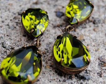 Olive Green Rhinestone Earrings  Swarovski Crystal Pear Post Dangle Earrings Tear Drop Rhinestone Earrings Duchess Hourglass Mashugana