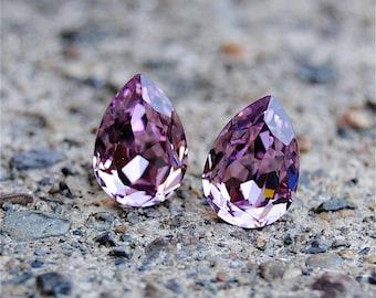 Vintage Lavender Small Duchess Pear Vintage Lavender Swarovski Crystal Stud Earrings Mashugana