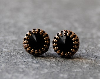 Black Crown Stud Earrings Swarovski Crystal Black Earrings Crown Victorian Mashugana