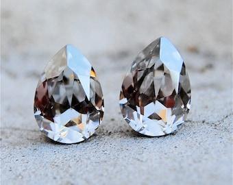 Soft Silver Bridesmaid Earrings Wedding Jewelry Swarovski Crystal Silver Shade Tear Drop Pear Stud Earrings Clip on Bridesmaid Gray Wedding
