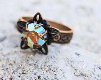 Aurora Borealis Rainbow Swarovski Crystal Ring Victorian Stargazer Antiqued Brass Adjustable Ring