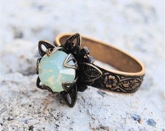 Vintage Green Opal Swarovski Crystal Ring Victorian Stargazer Vintage Green Opal Antique Brass Adjustable Ring Mashugana