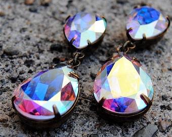 Aurora Borealis Rainbow Earrings Swarovski Crystal Tear Drop Pastel Rainbow Northern Lights Rhinestone Earrings Duchess Hourglass Mashugana