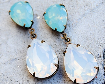 Blue Opal White Opal Earrings Swarovski Crystal Earrings Pear Tear Drop Post Dangle Pastel Rhinestone Earrings Duchess Hourglass Mashugana