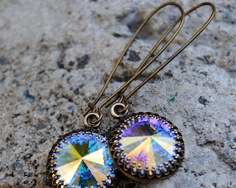 Aurora Borealis Dangle Earrings Swarovski Crystal Drop Earrings Northern Lights Crown Earrings Super Sparklers Victorian Queen Mashugana
