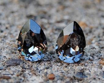 Gray Black Diamond Bridesmaid Earrings Soft Gray Studs Swarovski Studs Gray Wedding Jewelry Rose Gold Gray Clip ons Heather Bridsmaid Gift