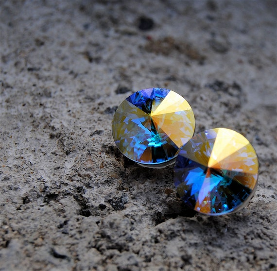 Aurora Borealis Earrings Super Sparklers Swarovski Crystal Northern Lights Stud Earrings