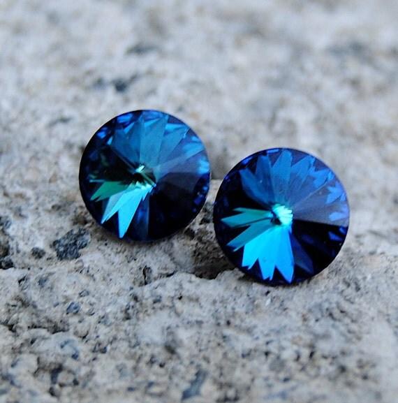 Super Sparklers Minnies - Vintage Bermuda Blue Swarovski Crystal Stud Earrings