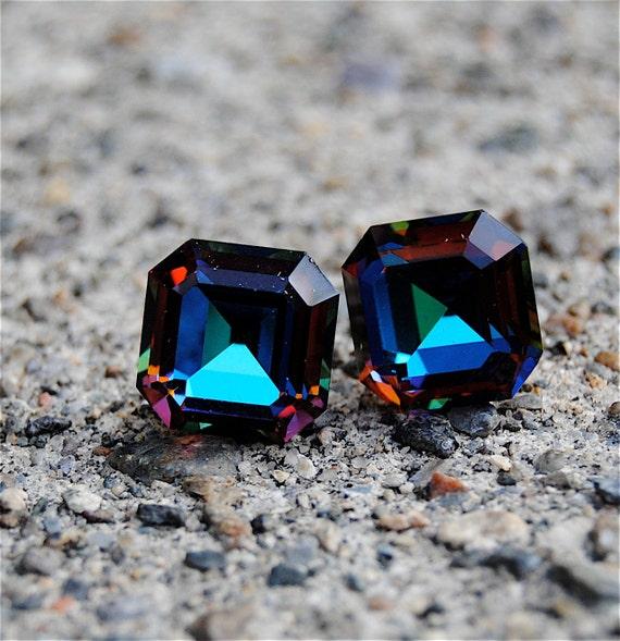 Vintage Super Sparklers Medium - RARE Vintage Dark Rainbow Square Swarovski Crystal Stud Earrings