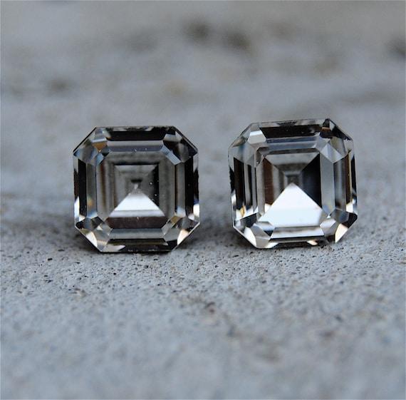 White Diamond Stud Earrings Vintage Swarovski Crystal Earrings Super Sparkler Minnies Clear Diamond Square Princess Cut Studs Mashugana