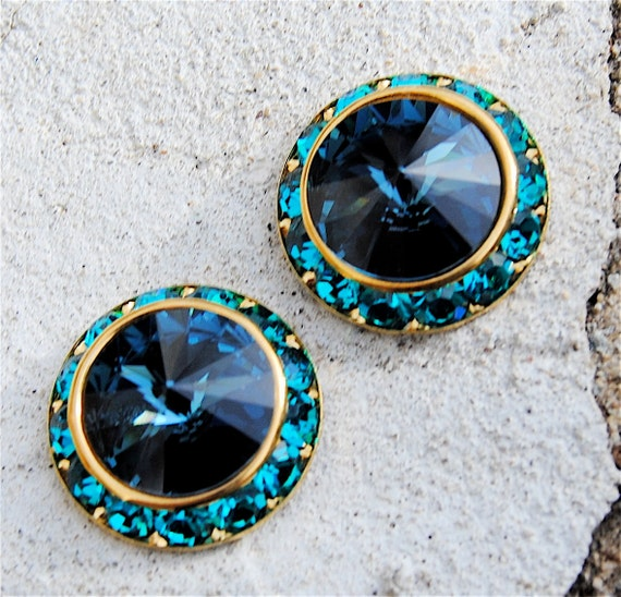 Swarovski Crystal Earrings - Sugar Sparklers - Montana Navy Blue, Teal Crystal Rhinestone Studs