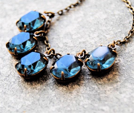 Navy Blue Duchess Swarovski Crystal Necklace Swarovski Crystal Navy Blue Rhinestone Oval Mashugana