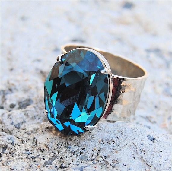 Swarovski Crystal Ring - Cocktail Ring - Vintage Aqua Blue Teal and Smooth Silver Adjustable Cocktail Ring