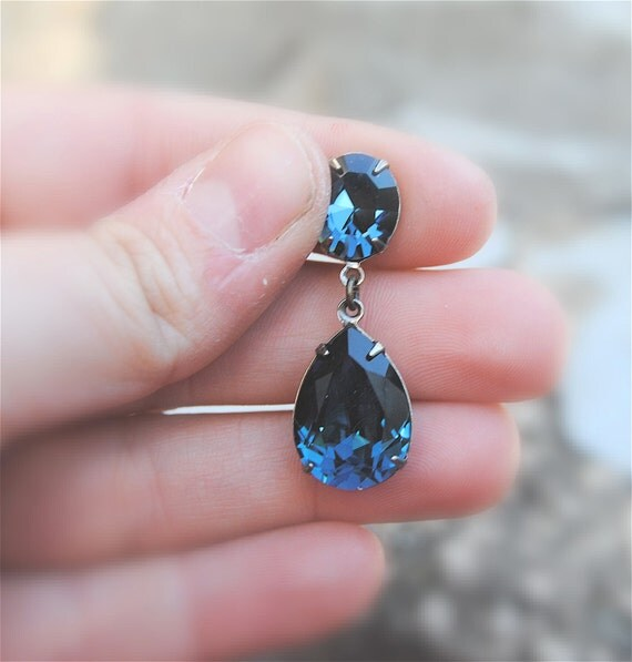 Vintage Navy Blue Earrings Swarovski Crystal Earrings By