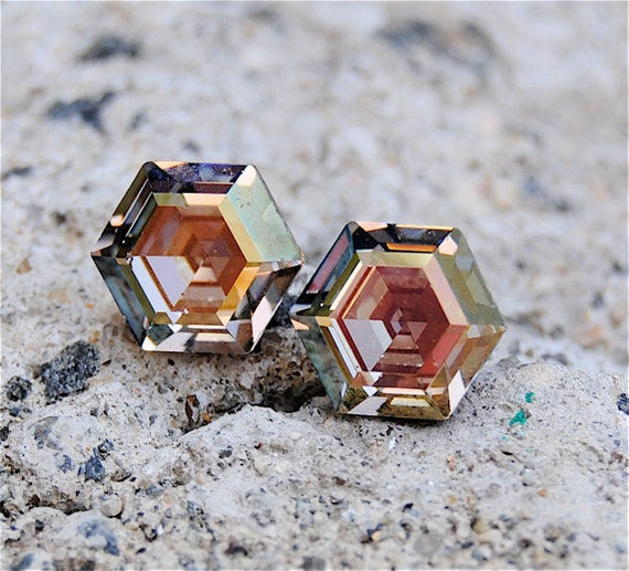 Vintage Swarovski Crystal Earrings - Super Sparklers - RARE Vintage Hexagon Cut, Galaxy Firework Earrings