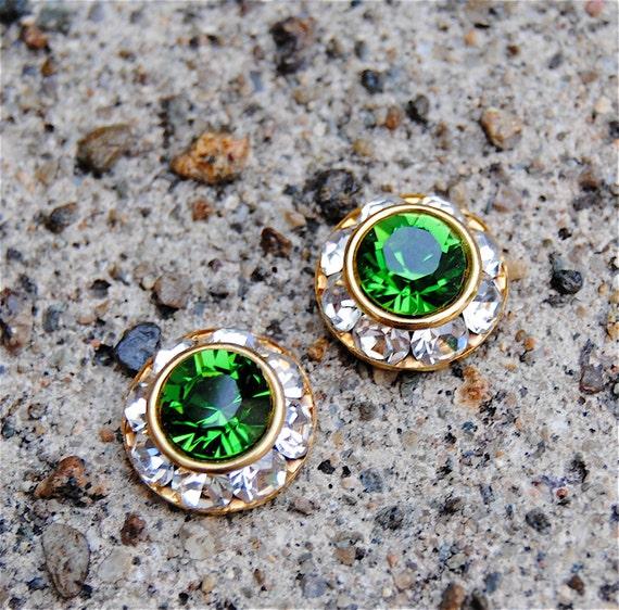 Bright Kelly Green Swarovski Earrings Mini Sugar Sparklers Swarovski Bright Green Diamond Rhinestone Vintage Stud Earrings Mashugana