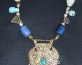 Necklace, Marrakesh Design, with antique african beads, large Tuirkoman pendant, agate beads, Ethiopian  Telsum pendants
